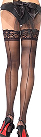 Leg Ave. black stay up shee lace top backseam thigh high stockings