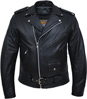 Unik black buffalo leather mens' zip motorcycle jacket