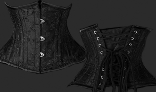 Dracula Clothing black brocade overbust corset with front steel busk, spiral steel boning, back lacing