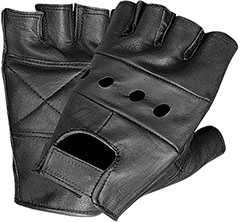 Black leather fingerless motorcycle gloves