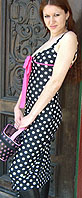 Attempt black white polka dot stretch poly short spaghetti strap dress with pink front tie and trim