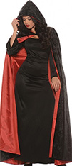 Underwraps deluxe black velvet cape with red satin lining