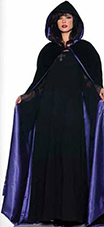 Underwraps deluxe hooded black velvet cape with purple satin lining