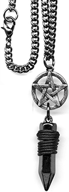 Fad pewter pentagram and crystal necklace on chain