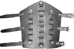 Ape gauntlet with woven straps and 4 o-rings, buckle