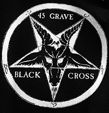 Black and white 45 Grave sew-on raw edge cloth patch