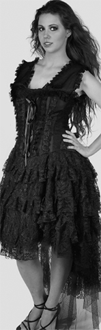 Steampunk high low black lace gothic dress