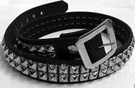 7B-two row leather pyramid stud belt