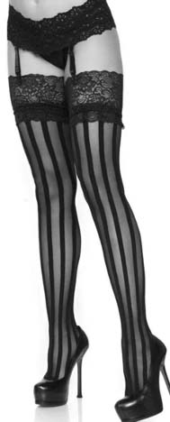 Leg Ave. black sheer with opaque vertical stripe lace top thigh high stockings.