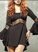 Lip Service Blacklist Black Steam black rayon spandex lace bell sleeved short dress