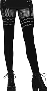 Leg Ave. black seamless opaque pantyhose with striped fishnet thigh detail