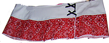 Serious red bandana micro mini with white waistband