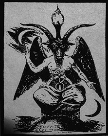 Black and white sew on raw edge baphomet patch