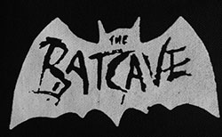 Black and white sew on raw edge Bat cave patch