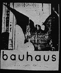 Black and white Bauhaus Bela Winged Figure sew-on raw edge cloth patch