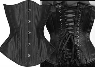 Timeless Trends/BLack Iris black satin hourglass corset with  20 flexible steel spiral stays, 6 steel bars, steel busk, modesty panel, back lacing
