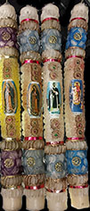 Handmade in Mexico 14 inch saint candles with either Our Lady of Guadelupe or St Martin Porres