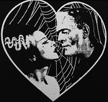 Black and white Frankenstein's Monster and Bride of Frankenstein with heart sew-on cloth raw edge patch