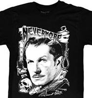 Kreepsville black Vincent Price Nevermore mens' black t-shirt