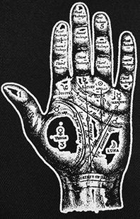 Black and white Palmistry sew-on raw edge cloth patch