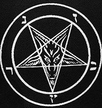 Black and white Pentagram Sabbatic GoaT sew-on raw edge cloth patch