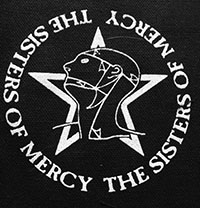 Black and white Sisters of Mercy sew-on raw edge cloth patch