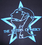 Sisters of Mercy black tee with blue Merciful release vivisect man and star image