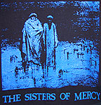 Sisters of Mercy Body and Soul two figures in graveyard blue image on black tee