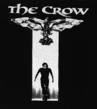 Black and white The Crow sew-on raw edge cloth patch