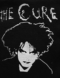 Black and white The Cure Robert Smith sew-on raw edge cloth patch