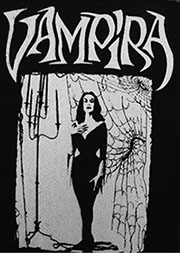 Black and white Vampira sew-on raw edge cloth patch