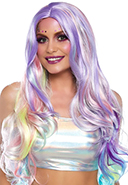 Leg Avenue long wavy pastel rainbow wig.