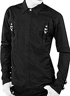 Aderlass Lock Cardy long sleeve men's fine black stretch cotton twill shirt with front straps