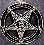 Azure Green 1 inch pewter Baphomet sabbatic goat necklace with sigils on faux leather cord