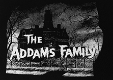 Black and white Addams Family TV show house sew-on raw edge patch