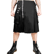 Tripp black cotton twill guys super kilt