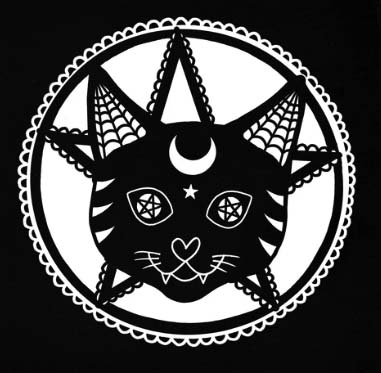 Gothic Cat Embroidered Iron-on Emblem Pentagram Killstar Badge Evil Patch Gothic