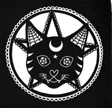Too Fast black  cat and pentagram sew-on raw edge cloth patch
