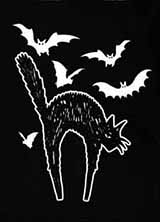 Too Fast vintage halloween cats and bats sew on cloth patch