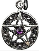 Azure Green pewter protected life pentacle necklace on black cord