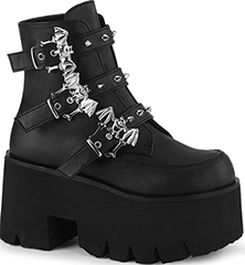 Pleaser black 3 1/2 inch chunky heel cut out ankle boot