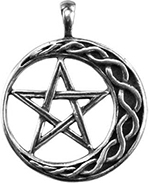 Azure Green pentacle moon necklace on black cord