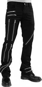 Black Pistol men's black denim Zipper pants