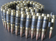 Solstice 0.308 mm brass bullet belt made from genuine inert shells with black links