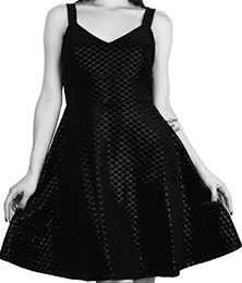 Killstar black flocked velvet Black Sea skater dress