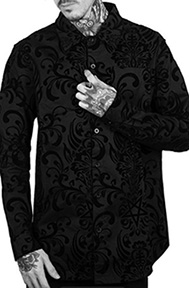 Killstar black stretch flocked damask Bloodlust button front mens' dress shirt