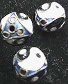 Small 5/16 inch round black, blue, white filigree metal yin yang bead imported from India