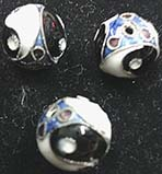 Medium 3/8 inch round black, blue, white filigree metal yin yang bead imported from India