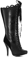 Ellie Shoes 4 inch knee high, lace up, pointed toe, faux leather boot with Gris Grimley skull print artwork, leopard soles