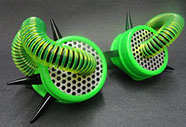 Solstice cyber goggles with green coils corrugated tube, spikes, perforated lenses